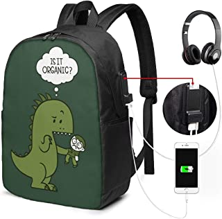Mochila con Interfaz USB Unisex Backpack with USB Charging Port Organic Dinosaur Classic Fashion General Business Bookbag