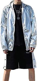 Howely Mens Lightweight Zip Up Metallic Hoodie Casual Overcoat Jackets