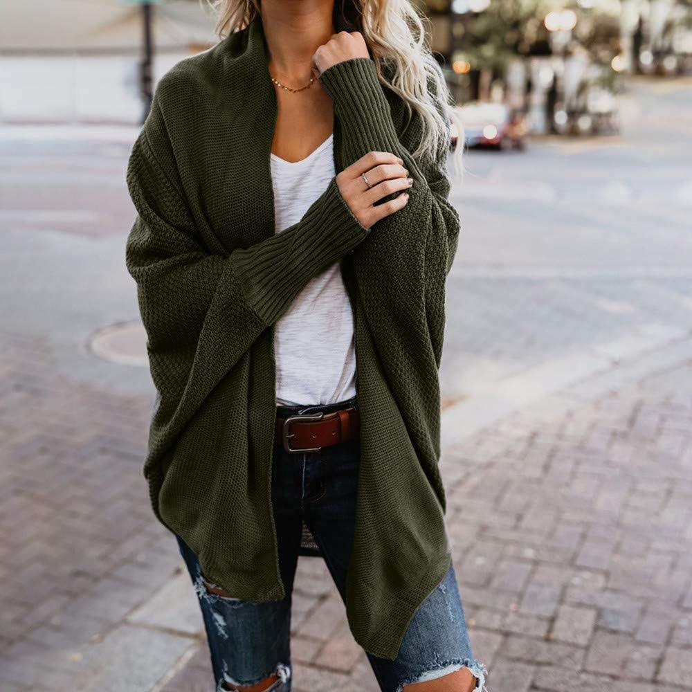 iHENGH Damen Winter Warm Bequem Mantel Lässig Mode Frauen Womens aus der Schulter Pullover lässig gestrickte lose Lange Ärmel Jacke Armeegrün