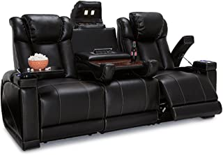 Seatcraft Sigma Home Theater Seating Sofa Leather Gel Recline with Adjustable Powered Headrests, Center Fold Down Table, Hidden in-Arm Storage, AC USB Charging, and Lighted Cup Holders,Black