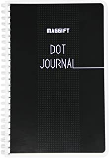 """Maggift Dot Journal, Spiral Notebook, Bullet Notebook, 120 pages,5.5"""" x 8.5"""" Wire-O (Black, 5.5"""" x 8.5"""")"""