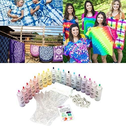 Kit colorido de pintura permanente One Step para la fabricación de colores de decoración textiles, ropa DIY, colores vivos para camisetas, vaqueros, lienzos, proyectos DIY., As Picture Show, 18 stück