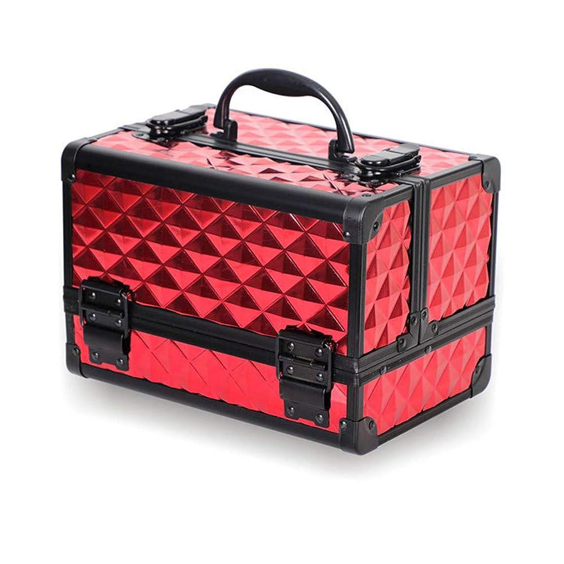 実現可能製造業自治的特大スペース収納ビューティーボックス 美の構造のためそしてジッパーおよび折る皿が付いている女の子の女性旅行そして毎日の貯蔵のための高容量の携帯用化粧品袋 化粧品化粧台 (色 : 赤)