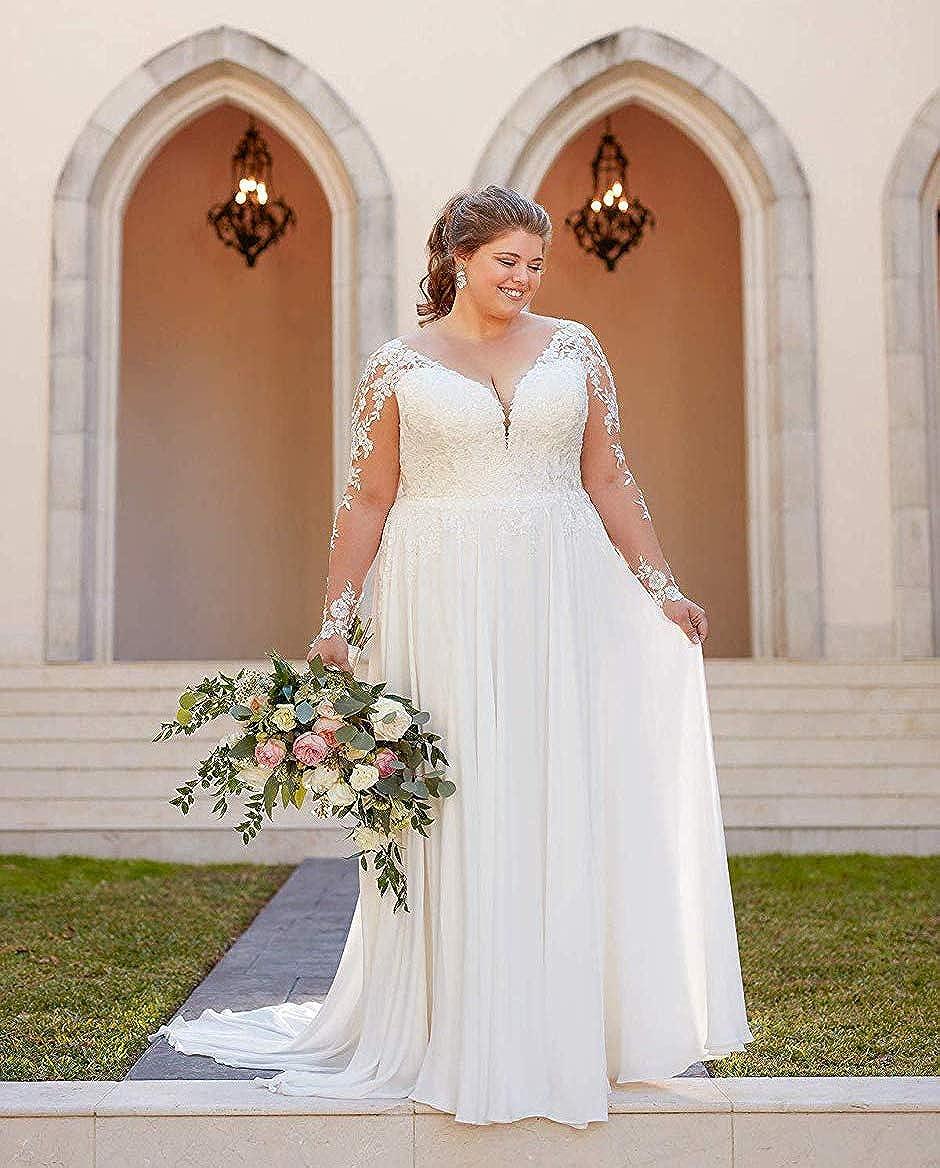 Amazon.com PearlBridal Women's Modest Lace Bohemian Wedding ...