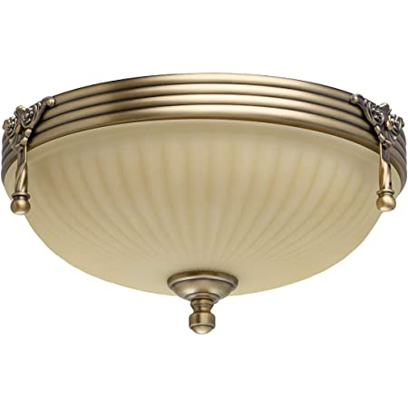 Ceiling Light and Wall Light Brass Metal Ivory Glass Antique Style Living Room Kitchen Bedroom, bulbs excl, 60W 230V (Ceiling Light 2)