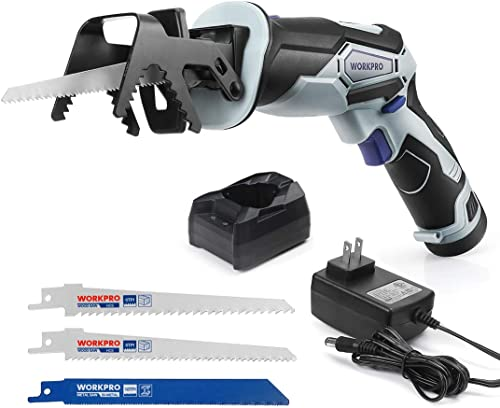 wholesale WORKPRO 12V Cordless Reciprocating Saw with Clamping Jaw, 2.0Ah Li-Ion Battery with 1 2021 Hour Fast Charger, Variable Speed and Tool-Free Blade Change, 3 Saw Blades for outlet online sale Wood & Metal Cutting outlet sale