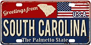 InterestPrint Greetings from South Carolina Rusty Metal Sign with USA Flag Automotive Metal License Plate Car Tags Cover for Woman Man, 12