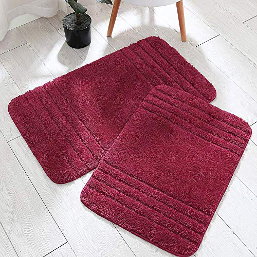 30x18 Inch/24X17 Inch Bath Rugs 2pcs Set Made of 100% Polyester Extra Soft and Non Slip Bathroom Mats Specialized in Machine Washable and Water Absorbent Shower Mat (Burgundy)