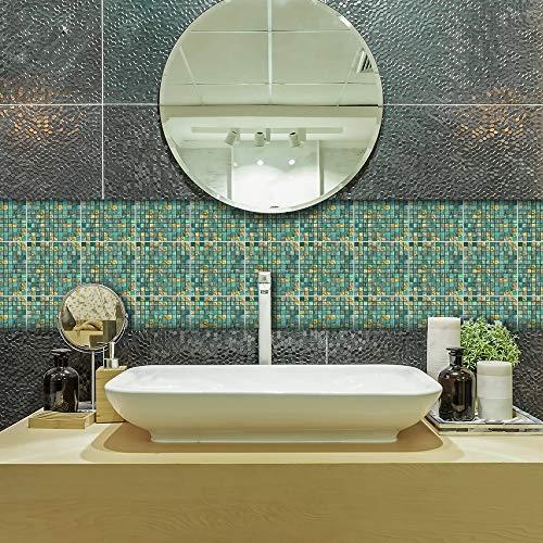 Adhesivo adhesivo para decoración del hogar, despegue y pegue las salpicaduras autoadhesivas, para sala de estar, cocina, baño, 20 cm x 20 cm x 10 piezas, adhesivo de mosaico metálico verde