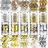 Paillettes per Unghie, 10 Pezzi Set Glitter Sequins del chiodo Paillettes Nail Art, Glitter Cosmetici per 3D Corpo Decorazioni per Capelli, Viso, Unghie, Guance,