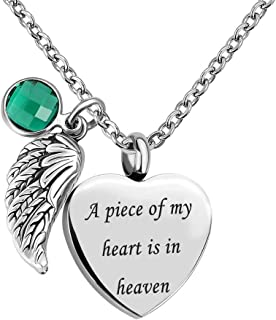 Sexymandala Angel Wing Charm Heart Love 12 Colors Crystal Urn Necklace for Ashes-A Piece of My Heart is in Heaven