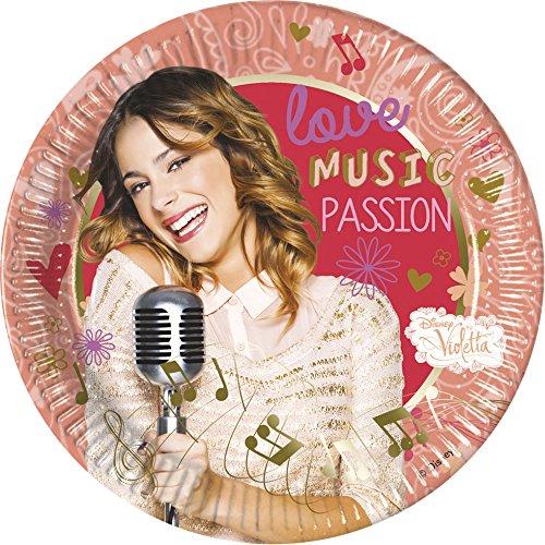 Unique Party 71903 - 23cm Music Passion Disney Violetta Party Plates, Pack of 8