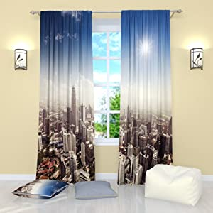 Blue and Gray Curtains City Theme Decor, New York Curtains Living Room Bedroom Kitchen Dining Room Darkening Gray Curtain Set of 2 Panels, Grey Curtains 84 Inch Length, City Window Curtains