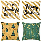 Paper Craft House Christmas Pillow Covers - 18x18 Inch Decorative Pillowcases for Couch, Sofa & Bedroom - Soft & Machine Washable Material - Hidden Zipper - Set of 4 - It's The Most Wonderful Time