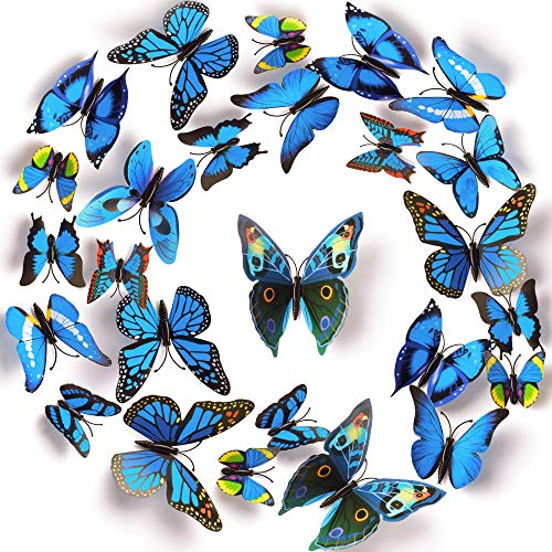 LiveGallery 72 PCS Blue Removable 3D DIY Beautiful Butterfly Wall Decals Blue Butterflies Art Decor Wall Stickers Murals for Kids Baby Boy Girls Bedroom Classroom Offices (Blue)
