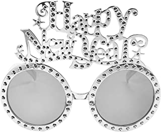 KESYOO 2021 Eyeglasses Happy New Year Sunglasses Funny Plastic Eyewear For New Years Eve Party Photo Prop Supplies (Silver)