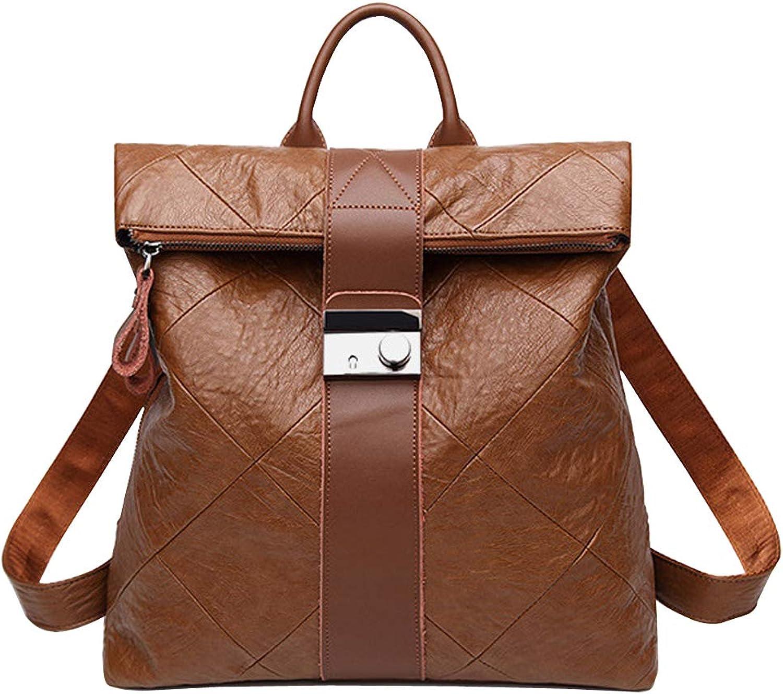 Frauen Rucksack Retro Anti-Diebstahl-Rucksack College Bag Travel Leder Schultertasche schwarz Daypack Casual Fashion Bag