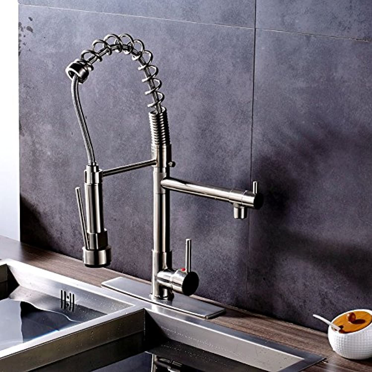 CZOOR Brushed Nickel Deck Mounted Kitchen Faucet Mixer Tap with Cover Plate Factory Direct Sale