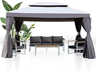 Grand patio 10x13 Feet Patio Gazebo, Outdoor Canopy with Mosquito Netting and Shade Curtains,Sturdy Straight Leg Tent for ...