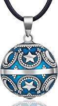 EUDORA Harmony Ball Estrella Luna Collar de Mujer, Llamador de ángeles Embarazada, Colgantes de Mujer Primer Embarazo Mamá Amigo Hermana Esposa Mejor Regalo, 114,3CM