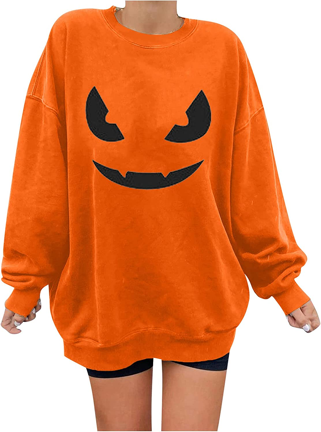 Crewneck Sweatshirts for Womens Funny Pumpkin Graphic Tees Long Sleeve Blouse Winter Loose Pullover