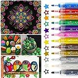 Pennarelli acrilici, 12 colori, resistenti all'acqua, metallici, per dipingere pietre, colori acrilici per bambini, fai da te, ceramica, vetro, porcellana, metallo, plastica, legno e tela