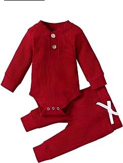 منامة أطفال للجنسين، ملابس طفل فتاة ولد ملابس سادة طويلة الأكمام رومبير ارتداءها قمم السراويل 2 قطعة مجموعة الزي