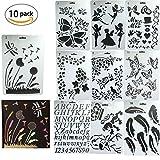 Plantillas para organizador,DANCEPANDAS 10 piezas Bullet Diario Stencil Set Plástico Planificador Plantillas para diario/cuaderno/Scrapbook/arte manualidades DIY(26 x 18cm)