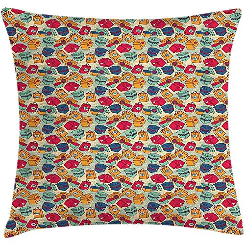 FAFANIQ Throw Pillowcase Pillow Cover Christmas Cushion, Cheerful Surprise Pattern Different Colorful Present Boxes New Year Celebration, Decorative Square Accent Case, 18 X 18 inches, Multicolor