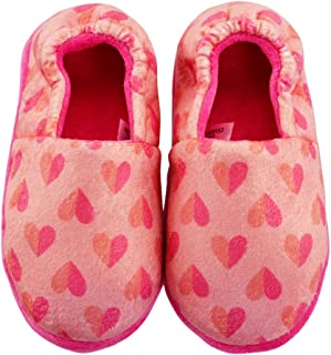 LA PLAGE Girls Slippers Indoor/Outdoor Warm Cozy House Slippers Cute Pink Heart On Upper