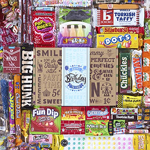 VINTAGE CANDY CO HAPPY BIRTHDAY GIFT FOR HIM – Fun Bday Care Package for ANY Man or Boy, Men, Husband, Son, Father, Dad, Brother, Uncle, Best Friend or Male Coworker