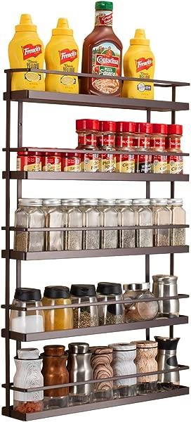 5 Tier Wall Mount Spice Rack Organizer Pantry Cabinet Door Spice Shelf Storage