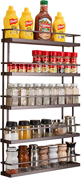 5 Tier Wall Mount Spice Rack Organizer Pantry Cabinet Door Spice Shelf Storage