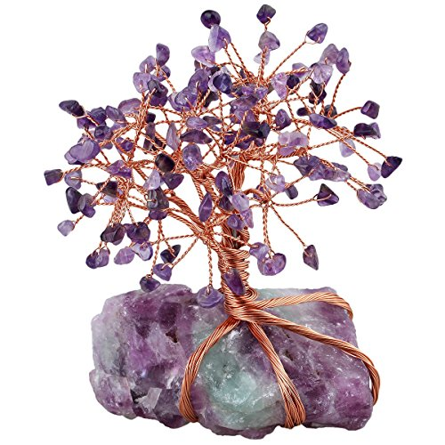 mookaitedecor Amethyst Crystal Tree, Raw Crystals Fluorite Base Bonsai Money Tree for Wealth and Luck