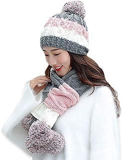 Warm Winter 2-Piece, Yezijin Women Men Winter Knit Hat Winter Soft Stretch Scarf Hairball Warm Cap