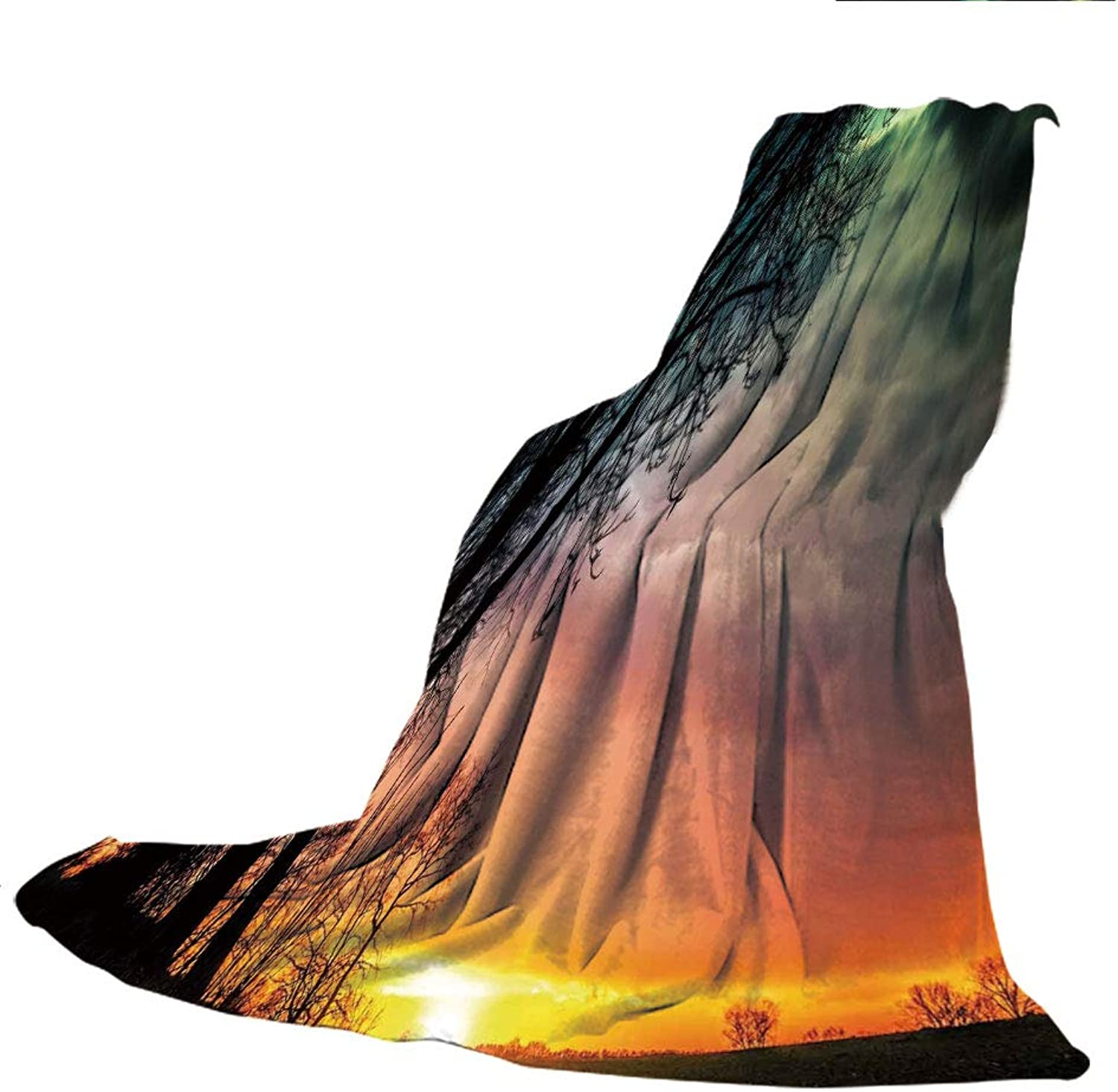 SCOCICI Blanket for Bed Couch Chair Fall Winter Spring Living Room,Sunset,Horizon Sky with Unusual colord Storm Clouds Up in Air and Tree Silhouette Image,Multicolor,59.06  W x 86.62  H