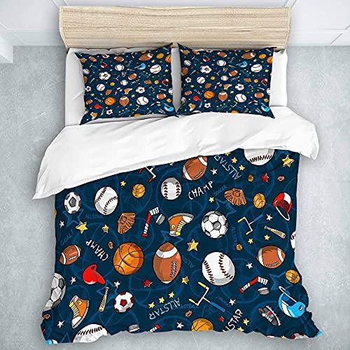 Bdppood Juego de ropa de cama – Funda de edredón, muchos iconos de baloncesto y fútbol campeón, colección de ropa de cama suave premium 3 piezas