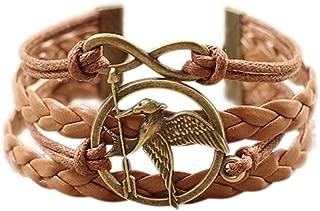 (TM Birds Mockingjay Infinity Hope Peace Two-Tone Wrap Bracelet