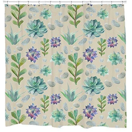 Sukkulente Muster Duschvorhang von Sharp Shirter, Polyester, multi, 180 cm x 188 cm(Standard)