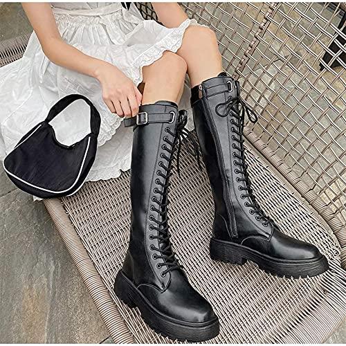 XQBAIHUO Botas de Moda Mujer,Bota Lluvia Mujer Altas Bota Goma Bota Impermeable Botines Wellington Boots Exterior Zapatos Planos Antideslizante,Negro,39