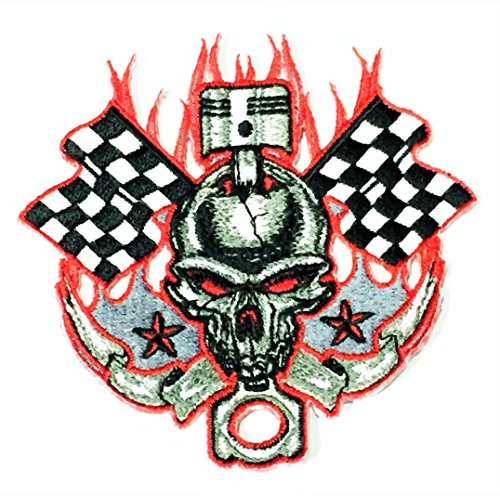 Patch Portal Skull Fire Red Flame Checkered Flag Racing Star Piston Emblem Patch 4 Inches Biker Rocker Motorcycle Race Embroidered Sew Iron on Embroidery Applique for Shirt Jeans Jacket Backpacks