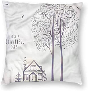 Quote Decorative Square Throw Pillow Cases Sketch Country House Protectors Cushion Covers for Sofa 20 x 20 Inch