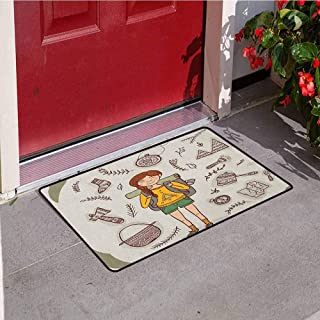 RelaxBear Explore Welcome Door mat Hiker Girl with a Backpack with Doodle Boho Ethnic Ornate Native American Elements Door mat is odorless and Durable W31.5 x L47.2 Inch Multicolor