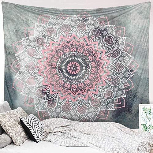 Dremisland Mandala Wandteppich Grau und Rosa Lotus Tapisserie Wandbehang Indisch Böhmische Hippie Wandteppich Tuch Wandtuch Blume Wand Dekoration Tapestry (Muster 2, M/153x130cm(60x52inch))