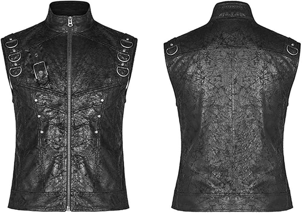 Punk Rave Men's Punk Crack PU Vest Gothic High Collar Zip Up Sleeveless Short Jacket Party Casual Waistcoat