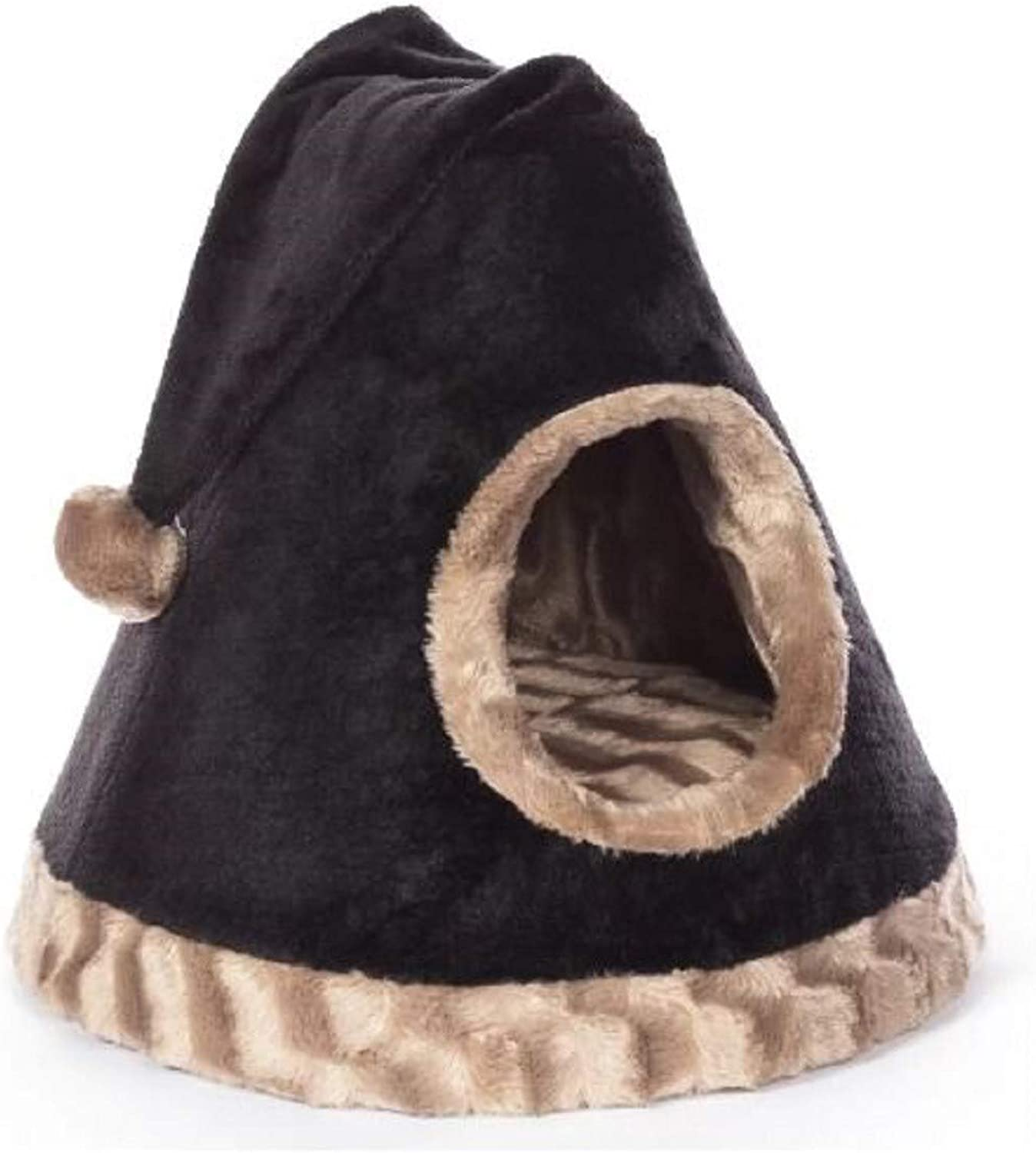 Nest Pet Bed. Hermann Kitty Cozy Cap in Black Beige Nest Pet Bed Has A Toy Tassel to Allow for Play