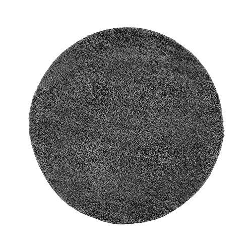 carpet city Teppich Hochflor Shaggy Einfarbig Wohnzimmer-Schlafzimmer Dunkelgrau Grau Rund Und Rechteckig Öko Tex 100{ec4abf3a82b56b0a1cac4dcfe2d36414431b7f1a48034834e3bf2c9e6e3c2050}, Größe in cm:160 x 160 cm rund