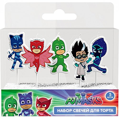 PJ Masks Molded Pick Candle Set (5ct) Birthday Party Supplies Cupcake Picks Cake Topper Decoration