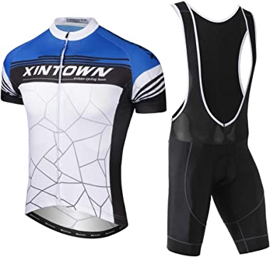 TZTED Unisex Breathable Men's Cycling Suits Short Sleeve Bike Jersey and Bib Shorts Quick Dry with 3D Gel Padded