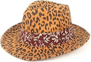 Fedora Cap Women's Panama Type Wide-Brimmed Hat Autumn Winter Fedora Hat Wool Polyester Elegant Ribbon Felt hat (Color : Yellow, Size : 56-58cm)